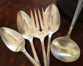 Holiday Dinner Serving Set of 5 hand stamped silverplate pieces,