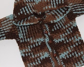 Handmade Childrens Hooded Cardigan Sweater in Browns & Blue - Size 12 months
