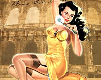 Rome Italy Travel Art Print - Vintage Syle Colosseum Pinup Poster