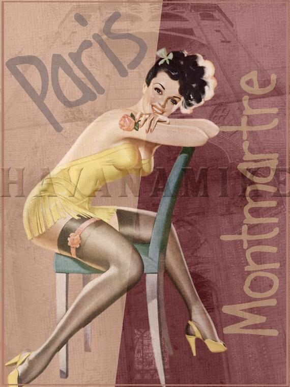 Paris France Montmarte Vintage Syle Pinup Poster Print