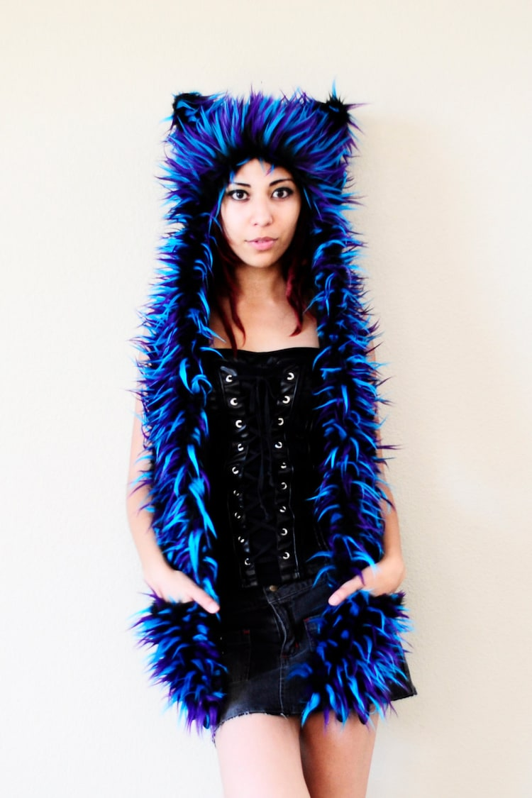 Electric Blue Turquoise And Purple Monster Cat By
