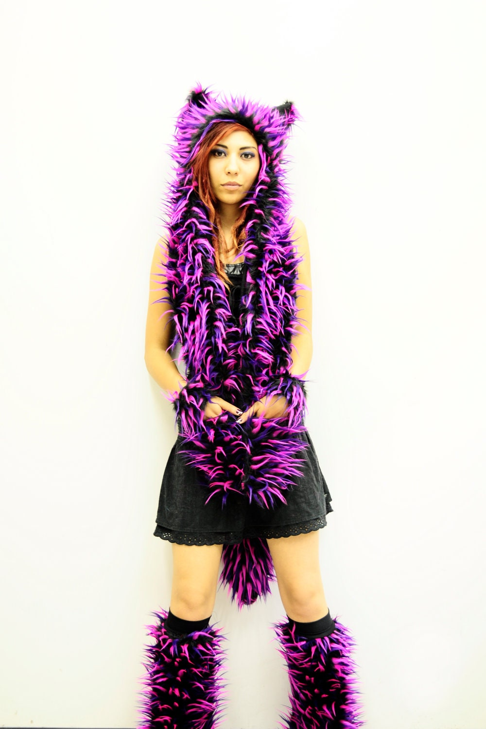 Neon Pink Purple And Black Monster Cat Hood With By