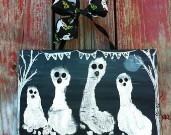 Halloween Footprint Handprint Kid's Craft Ghostly Kit 8x10
