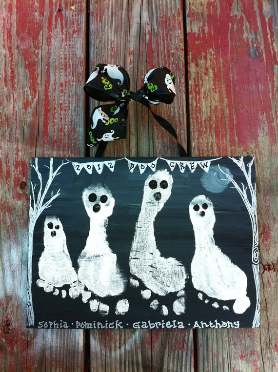 halloween handprint and footprint art items similar to footprint handprint kid s craft 6671