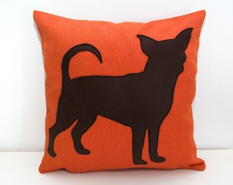 Personalized Chihuahua pillow cover, tangerine and dark brown, dog pillow, dorm pillow, personalized gift