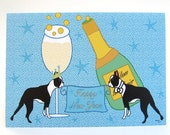 Happy New Year's Day Boston Terrier Card