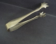 Fantastic Antique Ice Cube Tongs Hammered Metal Pattern Claw Feet Useful Perfect Gift