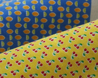 Fruit Collection Plaid Linen Cotton Fabric, Colorful Cherry Strawberry Mango Pineapple Apple Pear Plaid, Chair Cushion Fabric- 6 Sets
