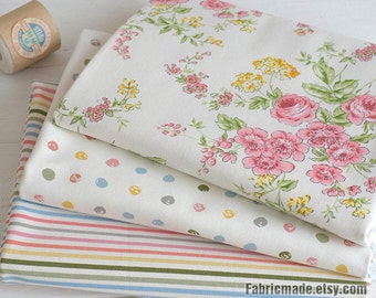 Spring Fabric, Pastel Pink Floral, Dots, Stripes Linen Cotton Fabric, Coordinating Fabric - 1/2 Yard