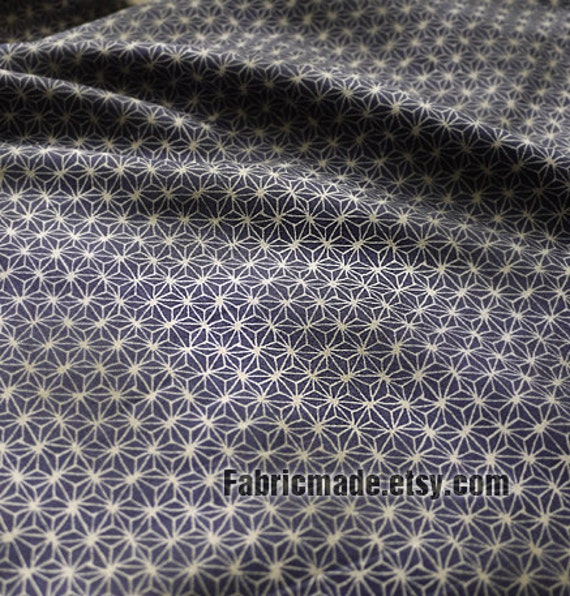 Japanese Vintage Fabric Cotton Fabric Kimono Fabric Vintage Green Blue Red With Flower Stars Moire - 1/2 yard
