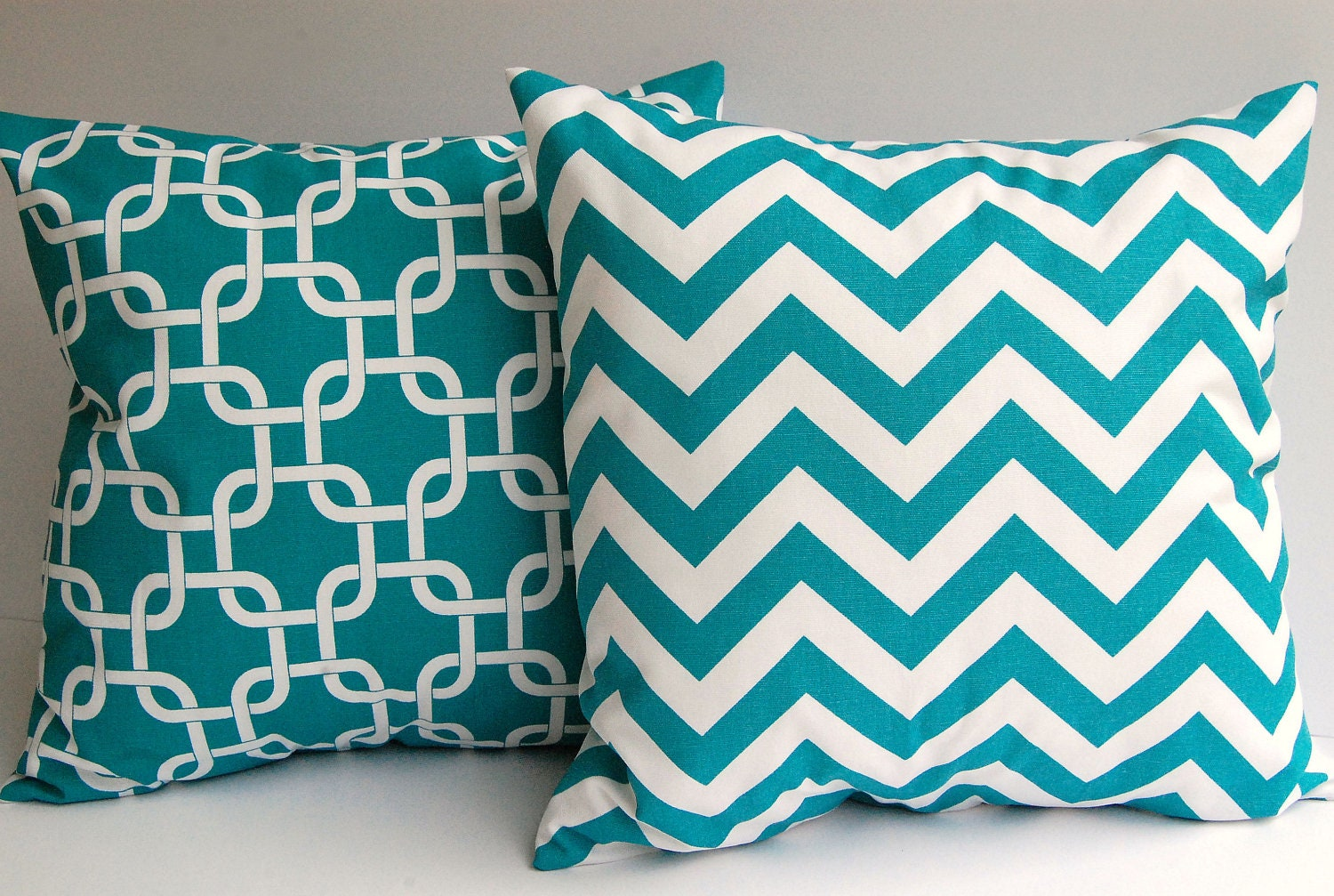 Turquoise throw pillow covers set of two 18 x by ThePillowPeople