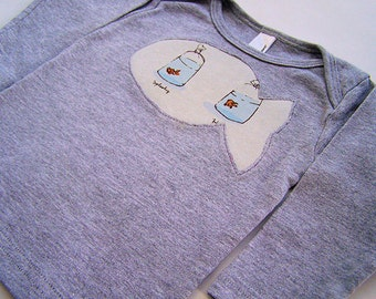 Baby Long Sleeve Tee Heather Ross Fish in Bags  Reverse Applique Swimmingly 6 - 12 month