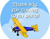 "Blue & Yellow Airplane Biplane Stickers - Sheet of 20 - 2"" round"