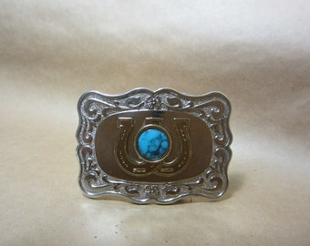 Vintage western belt buckle with intertwined horseshoes and turquoise  button