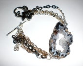B is for Bodacious - Badass - Boom - Bracelet Crystal Geode Slab Slice Multi Strand Chain Tibetan Silver Toggle