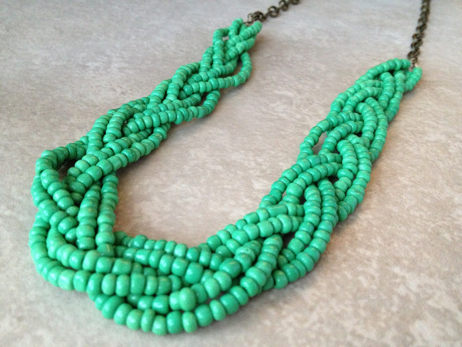 Long Beaded Necklace Braided Seed Bead Necklace Statement