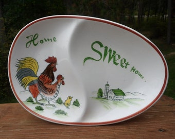Chicken Rooster Relish Dish, Enesco Rooster Farm Scene