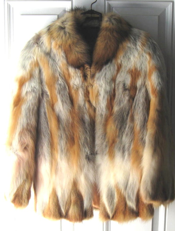 Vintage 70's red fox coat  Winter Fur Coat