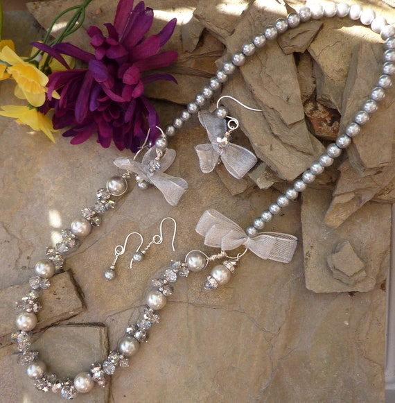 Sparkle Bright Silver Pearl, Glass Bead and Crystal Necklace with Day and Night Earring Sets