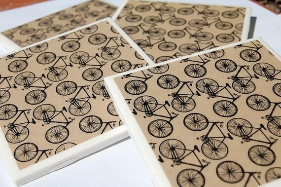 Bicycles Bicycles Bicycles coaster set