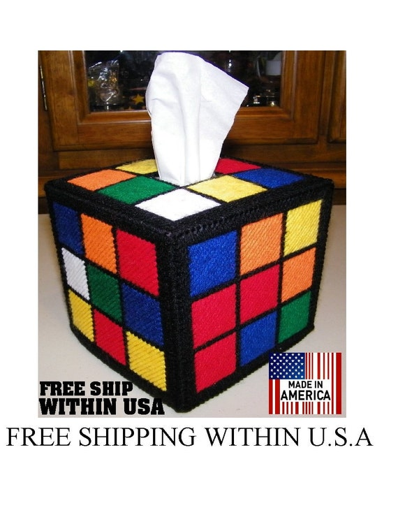 Free Shipping Within USA Totally Accurate & Authentic Rubiks Rubik Rubix Rubic Cube Tissue Box Cover  Seen on Big Bang Theory