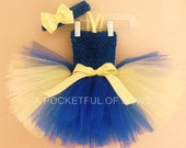 Blue and Yellow Tutu Dress, Dory Birthday Tutu Dress, Toddler Tutu Dress