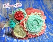 Flower Headband, Cream, Coral, Mint, Hair Accessories, Flower Hair Clips, Baby Flower Hair Bow, Flower Brooch Pin