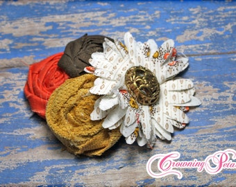 Mustard, Orange, Brown Headband, Flower Hair Accessory, Hair Clip, Fabric Flowers Brooch, Baby Girl Hair Bow, Infant, Newborn, Hair Piece