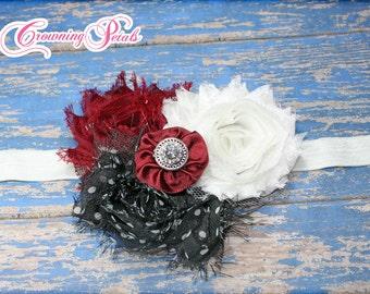 Maroon Hair Accessory, Shabby Chiffon Flowers, Hair Bow, Ivory, Black, Girls Hair Bow, Hair Clip, Infant Headbands, Flower Brooch