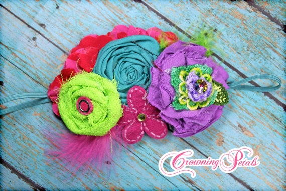 Purple, Lime, Fuchsia Pink Headband, Baby Girl Hair Accessory, Aqua, Turquoise Hair Clip, Tropical, Summer, Beach, HairBow, Hair Piece, Teal