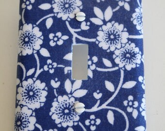 Decorative Switchplate Cover, Decorative Lightswitch Cover, Farmhouse Kitchen, Blue and White Kitchen, Repuposed, Cottage Chic