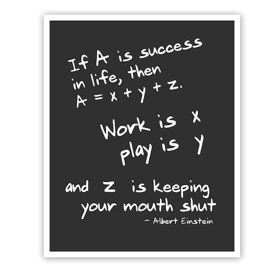 Inspirational Math Quotes: Albert Einstein Quote Math Art Print Wall By