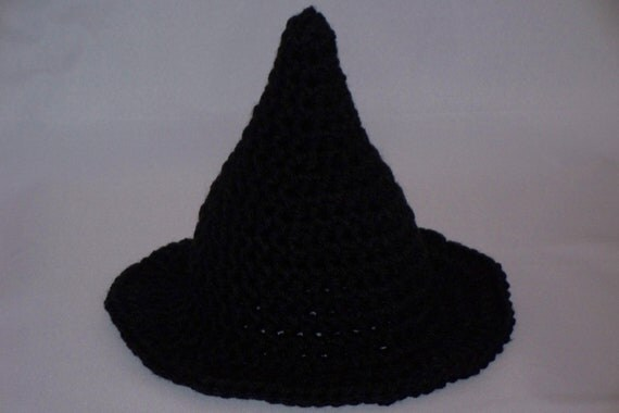 Infant Halloween Witch Hat, Black, Baby Witch Hat, crochet Halloween Witch Hat