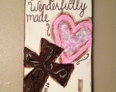 Fearfully & Wonderfully made Pink Brown Paisley heart cross textured canvas