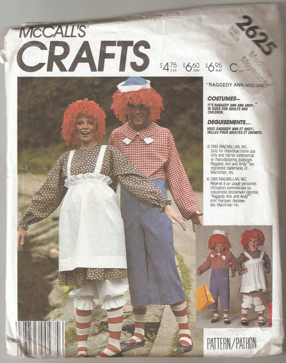 Costume Pattern Raggedy Ann & Andy Adult Size Medium