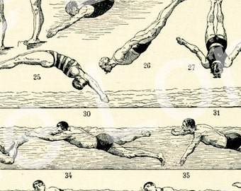 1922 Vintage sports print Vintage swimming poster rescue gift Swimming gift Diving gift Swimming decor French dictionary page