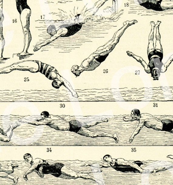 1922 Vintage Sports Print Vintage Swimming Poster Rescue Gift