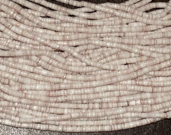 3 Strands 3mm Heishi Shell Beads, Southwestern Jewelry, Off White, Beige