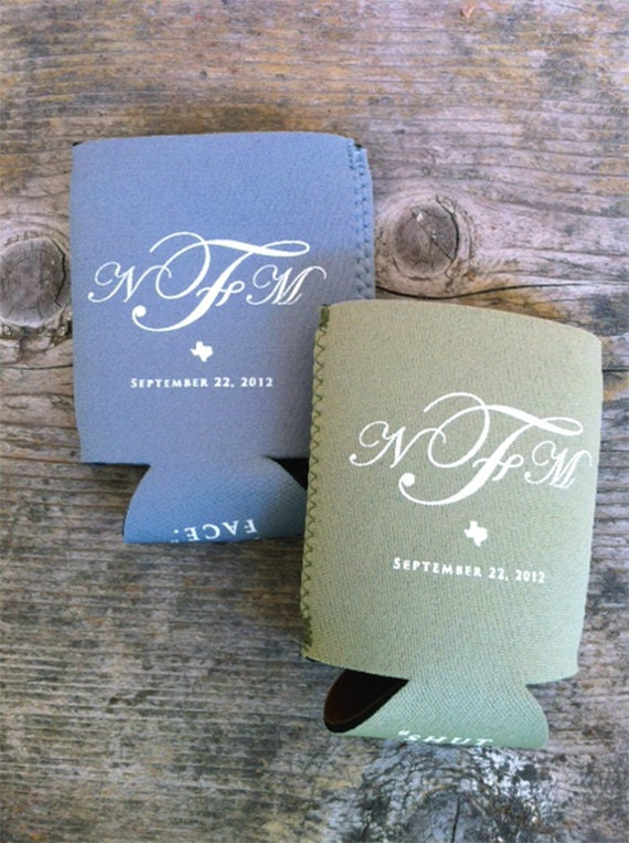 Rustic Wedding Can Coolers With 3 Letter Monogram Script