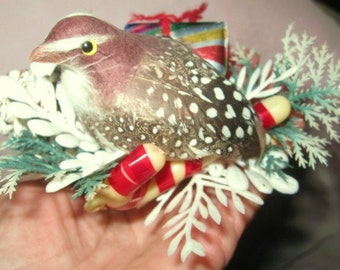 Vintage Ornament with Quail, Pinecone, Greens, Red Berries and Mini Wrapped Package and Candy Canes Vintage and Great Condition