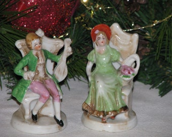 Vintage Mini Pair Made in Japan Colonial Man and Woman Figurines