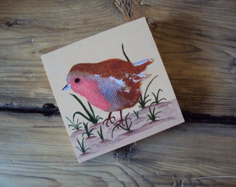 Small Robin Red Breast on Wood Block - Rustic Woodland Wall Art - Cottage Chic Decor - Tiny Art - Thrush Sparrow Songbird - Nature Art