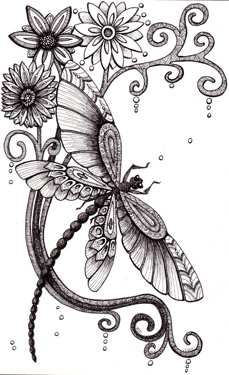 Whimsical dragonfly drawings - photo#2