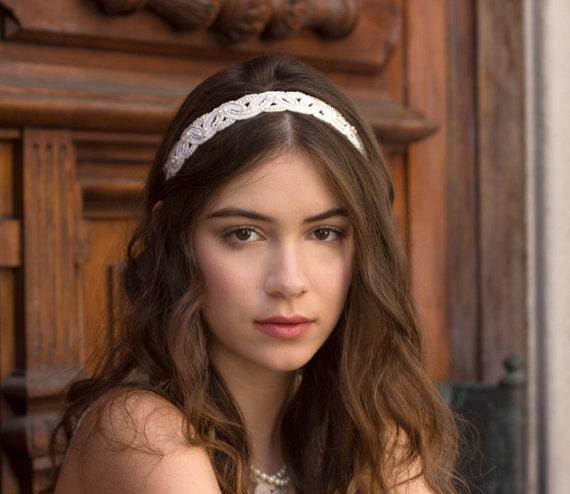 Woven Ivory Pearl Bridal Headband Headpiece Art Deco Vintage Inspired Wedding Ribbon Headband