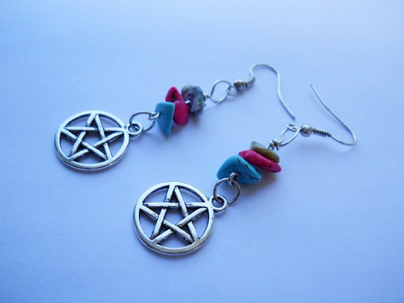 Bright Pentacle Earrings -Howlite, Pentagram, Witchy, Wiccan, Star, Stone, Pink, Green, Turquoise, Pagan