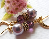 Lavender Swarovski Pearl and Amethyst Crystal Earrings with Antique Gold Rococo Beads on Leverbacks. Purple.