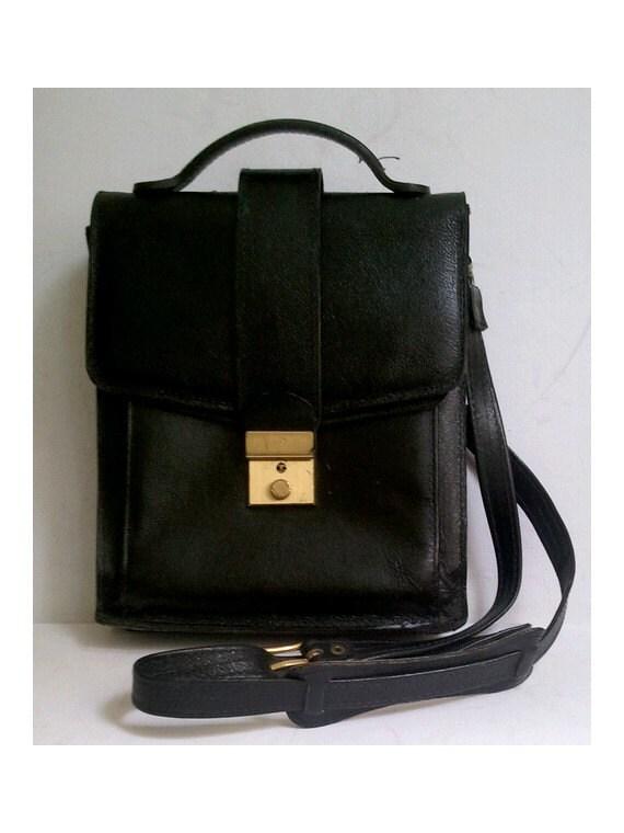 vintage messenger bag satchel black leather