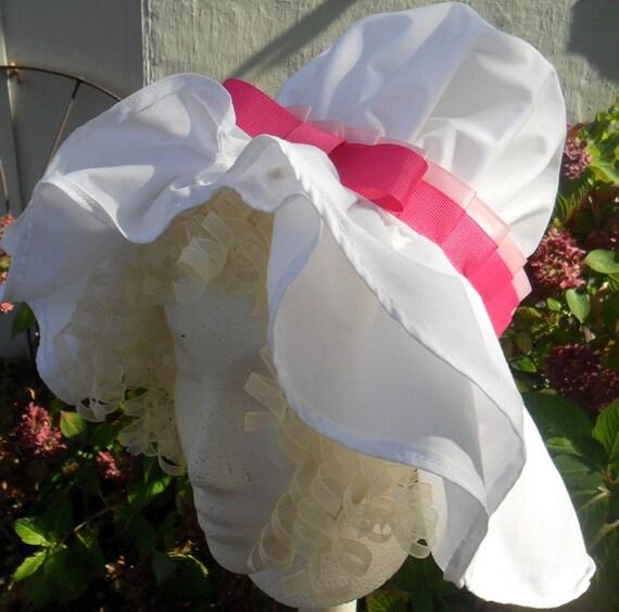 1800-1810 Women's Rengency Mop Cap, Day Cap/Morning Cap, Maid's Cap Pink Satin Band