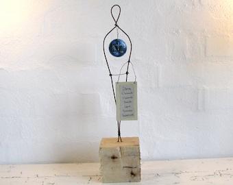 Zodiac Libra Wire Sculpture. Rustic Wire Art. Driftwood Art. Mixed Media Eco-friendly Zodiac Art.