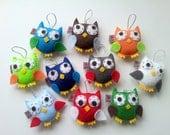 Owl Ornament Set, Owl Plush, Eco Felt, Set of 10, Baby Shower Favor - Gift, MADE TO ORDER